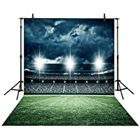 Allenjoy Polyester 5x7FT Photography Backdrops Night Soccer Football Field Sports Background for Photo Studio Shooting Children Photobooth