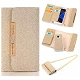 """For iPhone 6 Plus / iPhone 6S Plus Case, Karia Bling Glitter Diamond PU Leather Wallet Multi-functional Handbag Detachable Removable Magnetic Case with Flip Card Holder Cover for iPhone6 Plus/6S Plus 5.5"""" G"""
