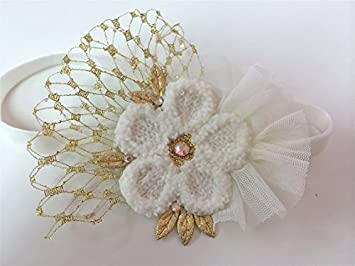 Amazon.com  Ivory gold Tulle Headband with French Vail (12 and up)  Baby 7ca8b3e2673