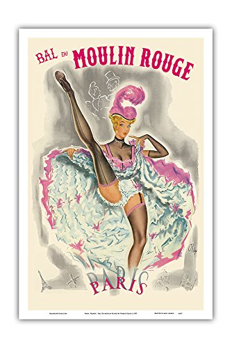 Pacifica Island Art Paris, France - Bal Du Moulin Rouge - French Cancan Dancer - Vintage Cabaret Casino Poster by Pierre Okley c.1957 - Master Art Print - 12in x 18in (Dancers Moulin Rouge)