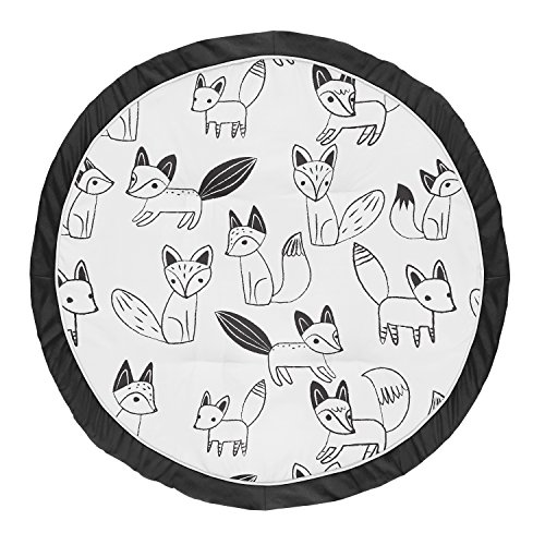 - Sweet JoJo Designs Black and White Playmat Tummy Time Baby and Infant Play Mat for Black and White Fox Collection