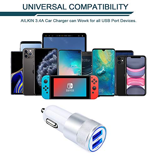Car Charger, Ailkin 3.4a Portable Dual Port USB Cargador Carro Fit Lighter Spot Socket Adapter for iPhone 11 Pro Max 11 Pro 11 X XR XS Max 8 Plus 7s ...