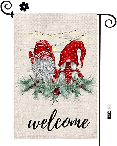 Winter Garden Flag with Stoppers & Clip, Gnome Winter Garden Flag 12x18 Double Sided, Welcome Party Sign Burlap Yard Flags for New Year Winter Christmas Spring Outside Holiday Decor, Outdoor & House