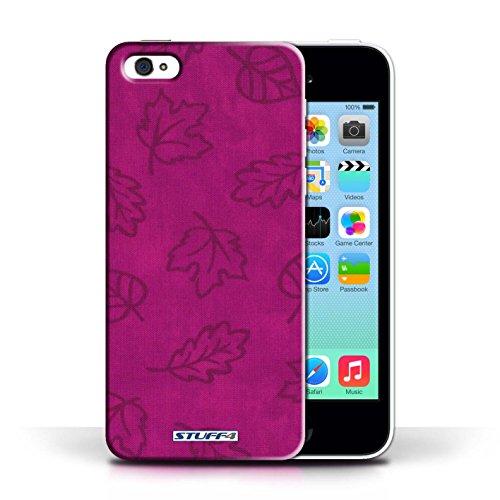 Etui pour Apple iPhone 5C / Rose conception / Collection de Motif Feuille/Effet Textile