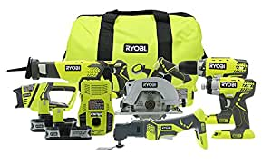 Ryobi P884 One+ Combination Lithium Ion Cordless Power Tool Set (6 x Power Tools, 2 x Compact Lithium Ion Batteries, 1 x Charger, 1 x Contractor's Bag)