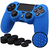 Pandaren STUDDED Anti-slip Silicone Cover Skin Set for PlaySation 4 controller(Blue controller skin x 1 + FPS PRO Thumb Grips x 8)