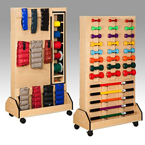 36'' x 18'' x 65'' Maple Galaxy DualRac Mobile Weight Rack - CL-5119 by Miller Supply Inc