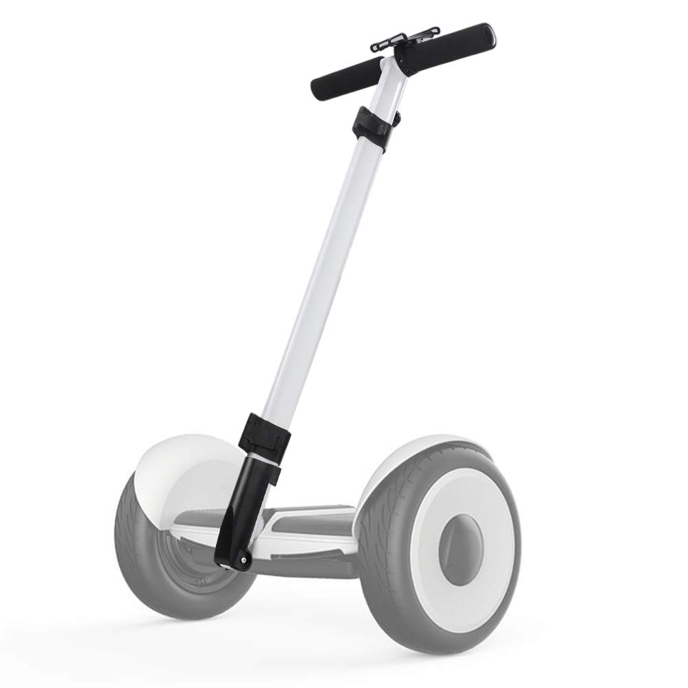 Dual Purpose Segway Handlebar for Minilite Scooter with Kickstand and Phone Mount, Handle Bracket with Knee Control, Self Balance Hoverboard Handle Bar Handle Bracket (White (Hand Control))