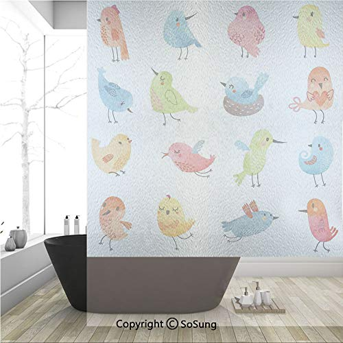 3D Decorative Privacy Window Films,Colorful Cute Birds Watercolor Effect Humor Funny Mascots Paint Brush Art Kids Design,No-Glue Self Static Cling Glass film for Home Bedroom Bathroom Kitchen Office 3