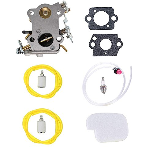 Podoy P3816 Carburetor for Poulan Chainsaw Parts with Air Fuel Filter Kit Gaskets Fuel Line Spark plug P3314 545070601 P3416 P4018 PP3416 PP3516 PP3816 PP4018 PP4218 PPB3416 PPB4018 PPB4218 Power Gas (Chainsaw 3314 Poulan Carb Kit)