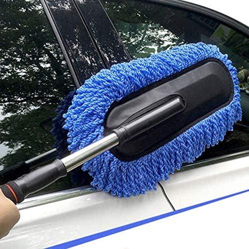 cherrypop Cepillo de limpieza de lavado de coche Plumero Cera de polvo Mopa de microfibra telesc/ópica herramienta de polvo con mango largo ajustable azul