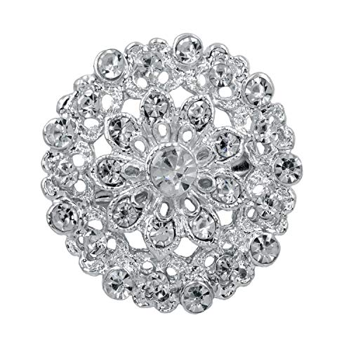 (Simple Silver Clear Rhinestone Brooches Pins Flower Brooches For Women Wedding,629silver clear)