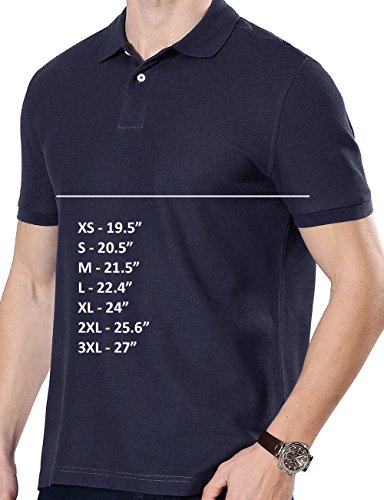 Fastorm Mens 2-Pack Golf Polo Shirt Pique Cooldry Wick Short Sleeve Collar Polo Solid Dark Blue Grey Large by Fastorm (Image #2)