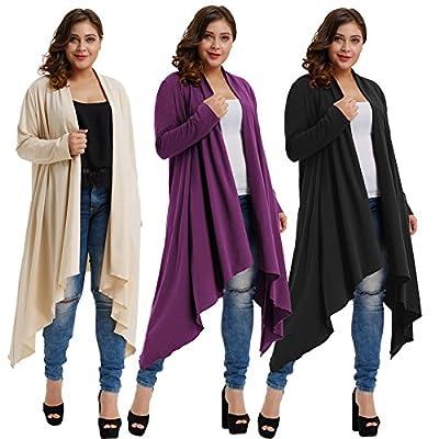 Hanna Nikole Women's Plus Size Long Sleeve Open Front Cardigan Coat With Irregular Hem HN0034