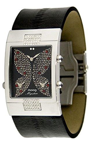 Black Papillon Watch - Moog Paris Papillon Women's Watch with Black Dial, Black Genuine Leather Strap & Swarovski Elements - M44404-001