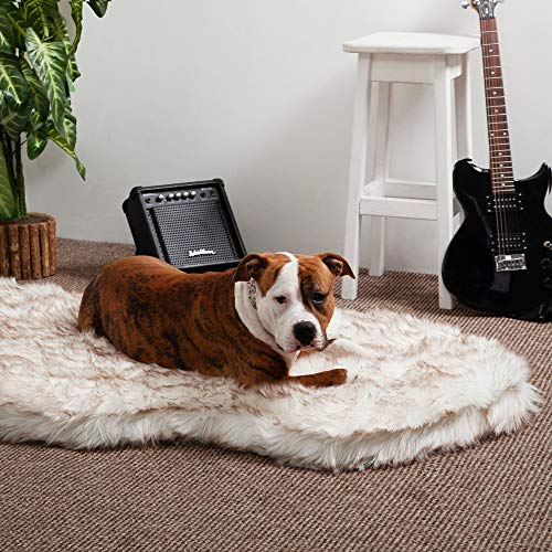 iHappyDog Luxury Faux Fur Orthopedic Dog Bed, Memory Foam Dog Bed​ for​ Small, Medium, Large and XL Pets, Fluffy Pup Rug with Waterproof ​and ​Washable Soft Cover, Bone White (Giant)