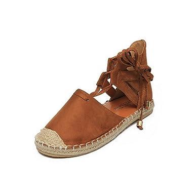 Sfit Damen Sommer Sandalen Vintage Flach Sommerschuhe Espadrilles Flat Dianetten Pantoffel