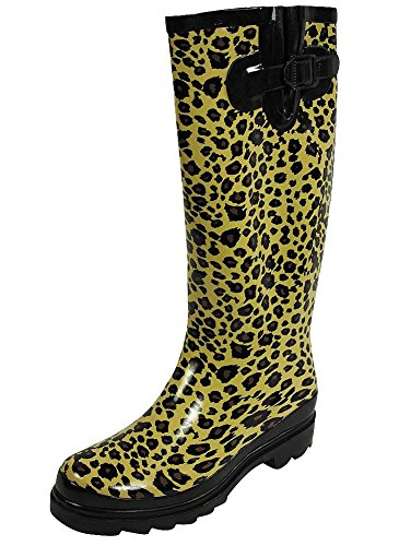 (Sunville Women's Ditsy Dots Rubber Rainboot and Gardenboot,9 B(M) US,Leopard)