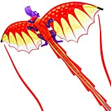 ZHONGRAN Kites, Huge Dragon Kite for Kids and Adults, 127x56inch 3D Nylon Kite for Boys Girls,Single Line with Long Tail Easy to Fly and Assemble, Portable Travel Outdoor Games (Dragon Kite)