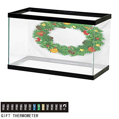 - Aquarium Background,Christmas,Festive Wreath Evergreen with Candy Cane Stockings Mistletoe Berries on Door,Green White Fish Tank Backdrop 24