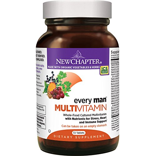 New Chapter Men's Multivitamin, Every Man, Fermented with Probiotics + Selenium + B Vitamins + Vitamin D3 + Organic Non-GMO Ingredients - 72 ct from New Chapter