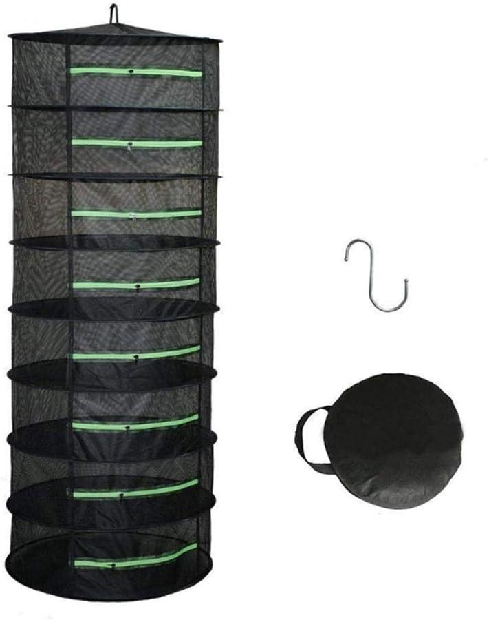 Estante de secado NET Dryer 4/6/8 Layer 0.6M Black W/Green Zipper Mesh Hydroponics