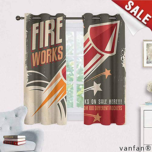 Big datastore Vintage Decor Collection Curtain Bedroom,Retro Fireworks in Vintage Paper with Stars Rockets Western Halloween Illustration Home Furnishings Decor by,Gray Red W63 x L63 -