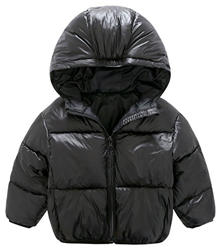 Mengxiaoya Baby Boys Girls Puff Jacket Hoodie Coat Windproof Winter Outerwear Black (Boys Puff Jacket)