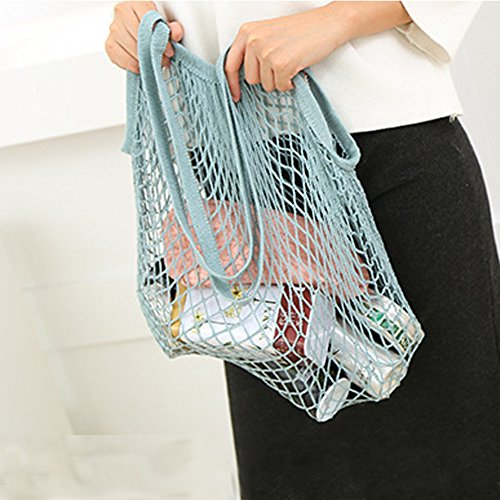 - Reusable Shopper Shopping Bag,Long Wide Handle Fruit Vegetables Shopper Tote -Mesh Net Woven Cotton Shoulder Bag -Hand Totes Home Storage Bag(blue and gray)