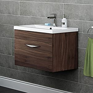 mm walnut gloss vanity sink unit wall hung drawers bathroom furniture
