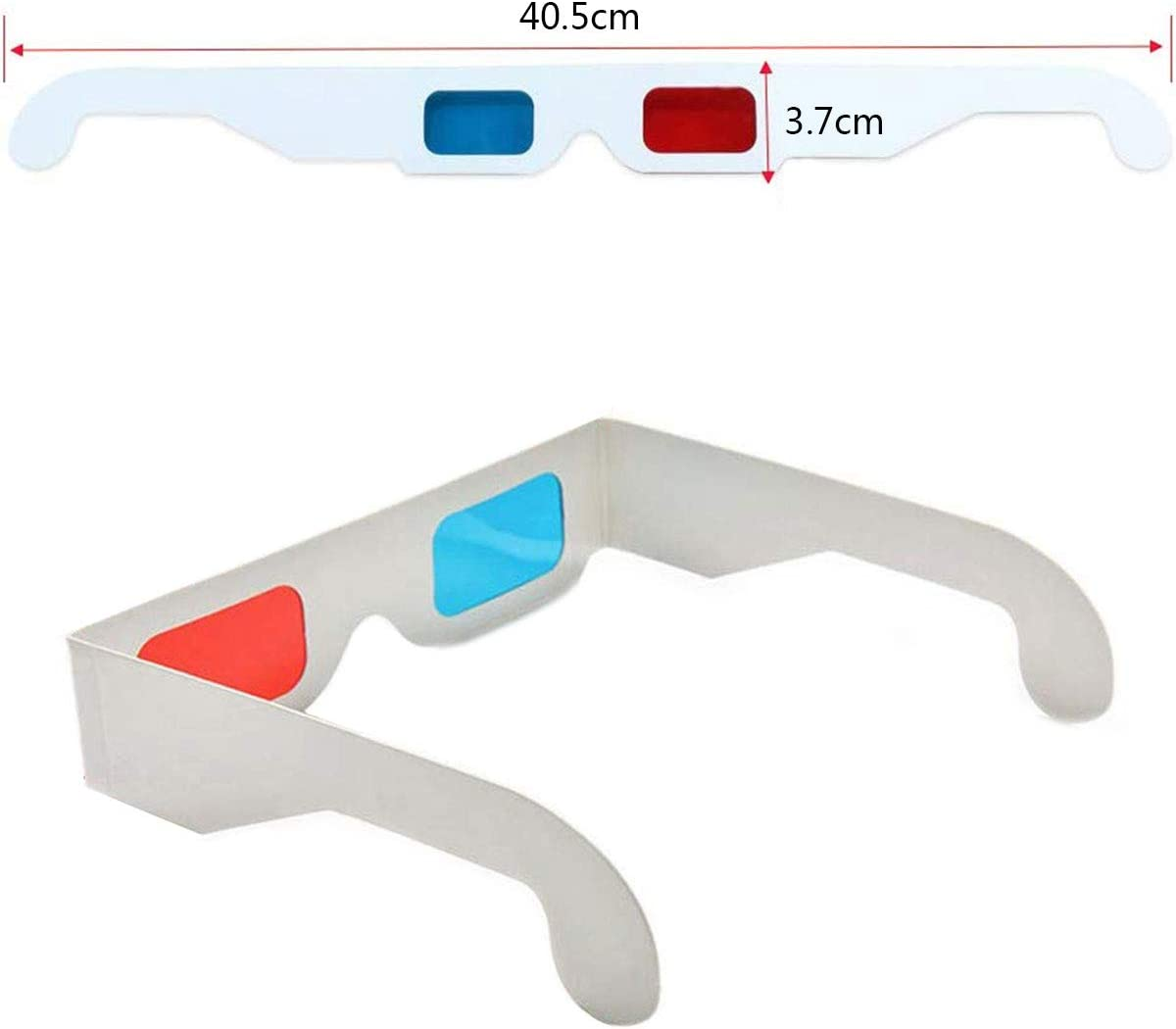 3D Glasses 10 Pairs of Paper Red and Blue Stereo Eyeglasses for Movie Decoration