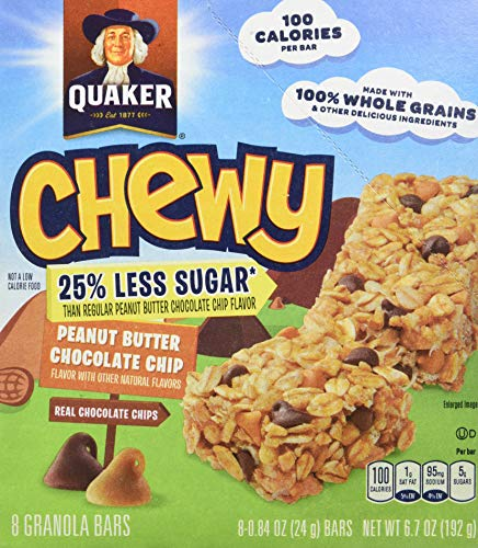 Quaker Chewy Granola Bars, Reduced Sugar Peanut Butter Chocolate Chip, 96 Count (Pack of ()