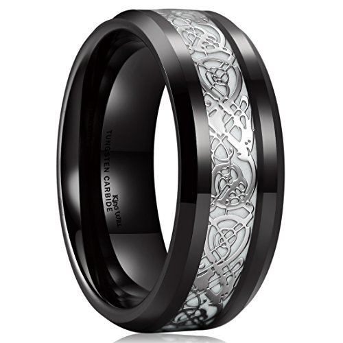 King Will Dragon 8mm Black Celtic Dragon Luminou Glow Tungsten Carbide Wedding Ring 8