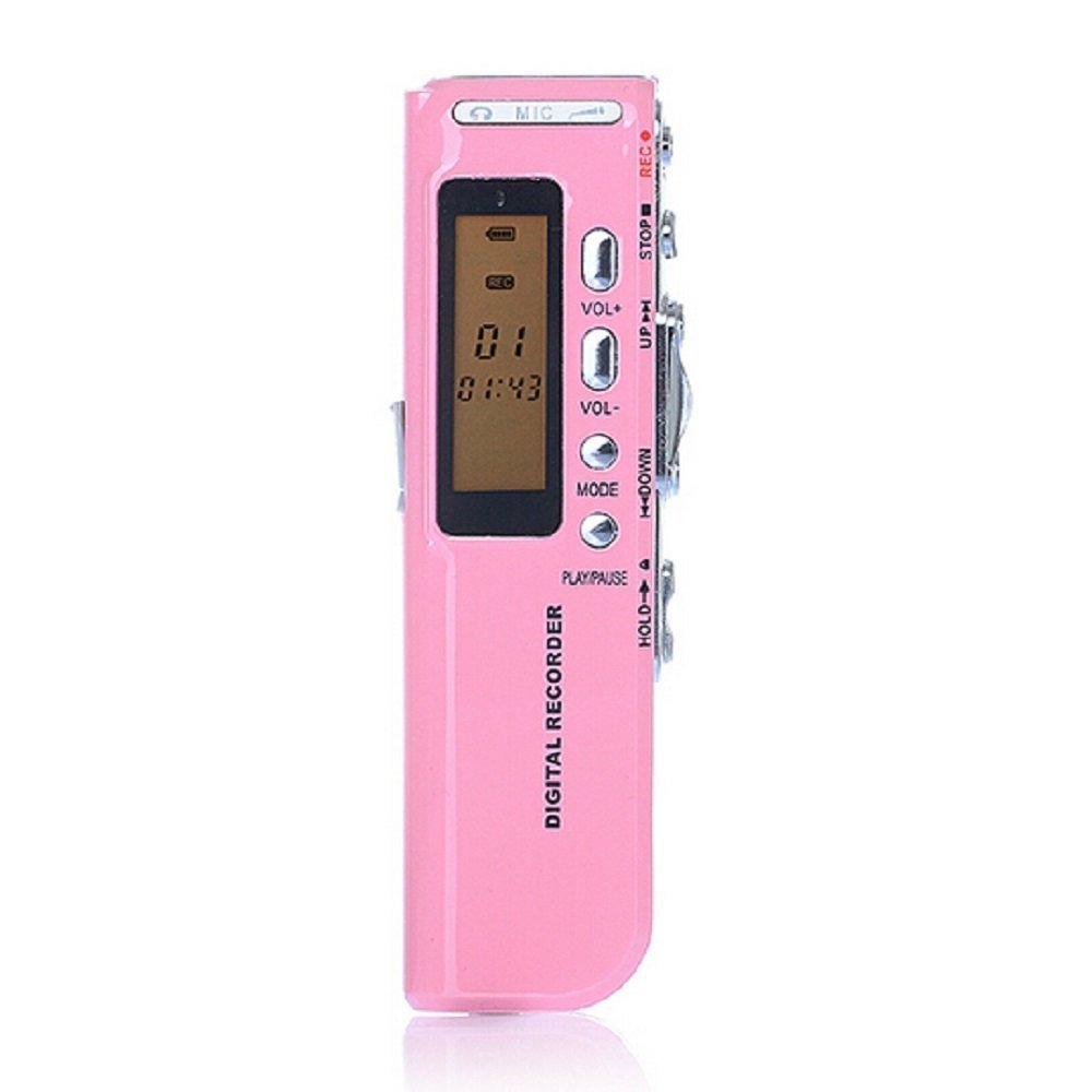Loveboat Multifunctional Portable Rechargeable 8GB 650HR Digital Dictaphone Audio Voice Recorder USB Drive MP3 Player (Pink)