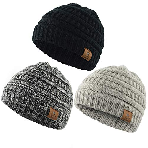 Zando Baby Beanies Infant Toddler Winter Hat Soft Warm Knit Hats Caps for Boys Girls 3 Pack Black,Light Grey,Black White (Beanie Starter)