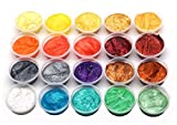 20 Colors Slime Dye Powder Mica Powder Pearl Pigments Soap Dye (0.35oz Each)- Soap Making Colorants Set Colorants for Bath Bomb, Candle Making, Cosmetic, Resin Jewelry
