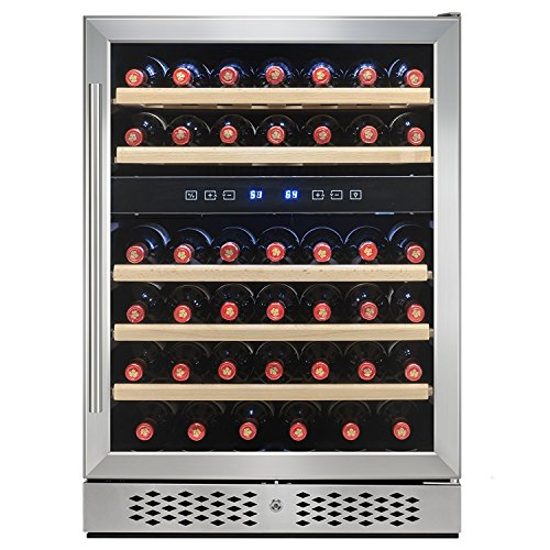 Cooler Reviews Dual Wine Zone (FIREBIRD 46 Bottles Dual Zone Adjustable Touch Control Freestanding Electric Wine Cooler Chiller w/ Built-in Compressor)