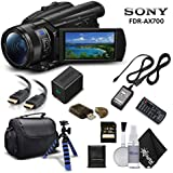 Sony Handycam FDR-AX700 4K HD Video Camera Camcorder With 128GB Memory Card + Carrying Case + HDMI Cable and more - Starter Kit