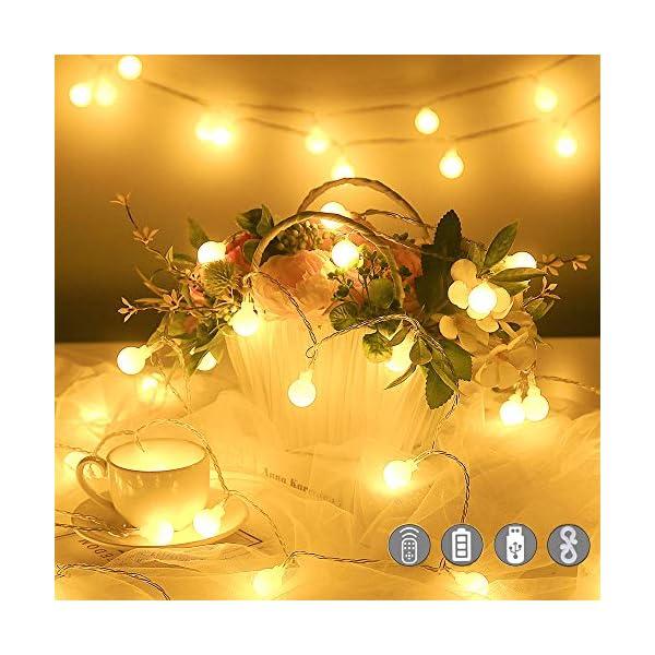 Catena Luminosa con Ganci Stringa Luci LED a Batteria o USB 100 LED 10M 8 Modi Ghirlanda Luminosa Lampadina Impermeabile con Telecomando per Cortile Casa Festa Matrimonio Natale 1 spesavip