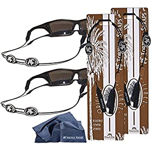 Tortuga Straps LINEZ Gray / Black 2pk – Adjustable Sunglasses Strap and Eyeglass Straps – Glasses Straps Fit Small & Larger glasses – Sunglass Retainer & Eyeglasses Strap Secure on Head or Neck
