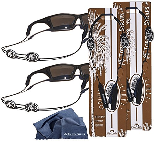 Tortuga Straps LINEZ Gray / Black 2pk – Adjustable Sunglasses Strap and Eyeglass Straps – Glasses Straps Fit Small & Larger glasses – Sunglass Retainer & Eyeglasses Strap Secure on - Sunglasses Wakeboarding