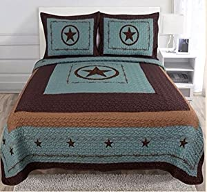 3-piece Western Lone Star Barb Wire Cabin / Lodge Quilt Bedspread Coverlet Set King / Cal King Size Turquoise (KIng)
