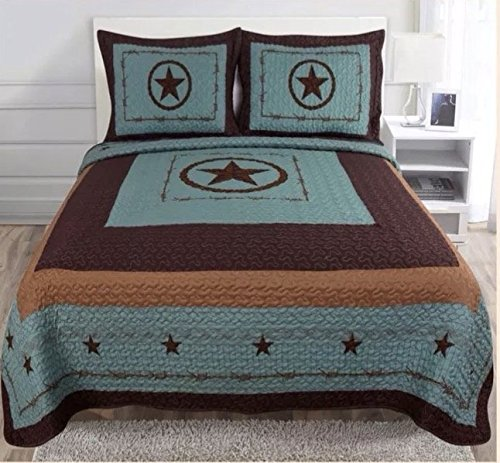 3-piece Western Lone Star Barb Wire Cabin / Lodge Quilt Bedspread Coverlet Set King / Cal King Size Turquoise (KIng) (King Log Bed)