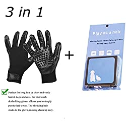Original Dream Pet Hair Grooming Glove for Cats, Dogs & Horses,Shedding Mitts, Hair Removal Mitt, Bathing Brushes, Combing Massage Gloves + Pet Hair Cleaner