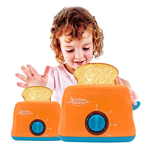 Gbell  Mini Kitchen Toaster Pretend Play Toys for Toddlers- Kids Realistic Home Appliances Role Playing Toy, Toaster Machine Home Electric Appliances Xmas Toy Gifts for Toddler Girls Boys 3+ (Orange) (Pretend Toaster Play)