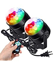 LITAKE Party Lights Disco Ball LED Strobe Lights,Sound Activated DJ Stage Lights with Remote,Music Sync 7 Color Changing Modes RGB Disco Lights for Dance Party Wedding DJ Club Karaoke -2 Packs