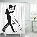 Emvency Shower Curtain Waterproof Decorative Bathroom 66 x 72 inches Ballroom Tango Dance Design of Couple Dancing Beautiful Beauty Dancers Drawing Girl Polyester Fabric Set with Hooks