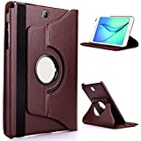 TGK 360 Degree Rotating Leather Smart Rotary Swivel Stand Case Cover for Samsung Galaxy Tab A (9.7 inch) SM-T550, T551, T555 (Brown)