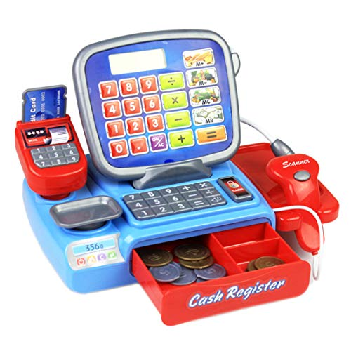 y Set for Kids 23Pcs Electronic Cash Register Playset for Kids Supermarket Checkout Toy for Toddler Educational Teasching Kits for Children Pre-Schoolers ()