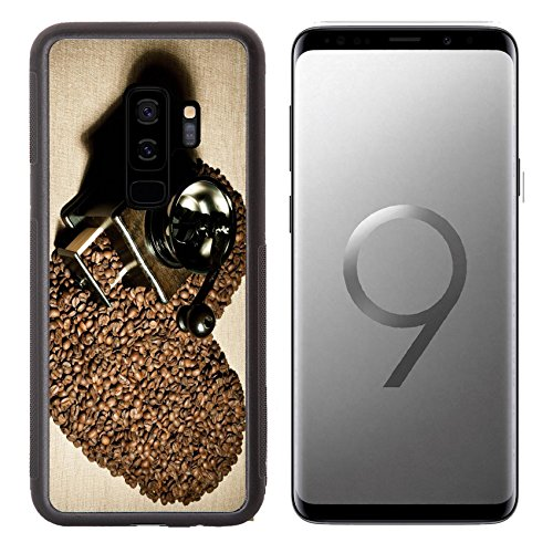 Liili Premium Samsung Galaxy S9 plus Aluminum Backplate Bumper Snap Case IMAGE ID: 17227187 still life of the wooden old coffee grinder stand in great plenty of coffee in grains